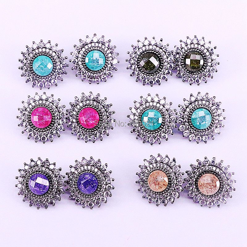5Pairs New Trendy Flower Shape CZ Zircon Pave Mix color nature stones Stud Earrings Jewelry For Women