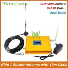 Repetidor de sinal do impulsionador 2g 3g do sinal do telefone móvel com chicote/otário antena tianluan lcd display W CDMA umts 2100 mhz gsm 900 mhz