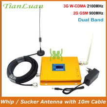TianLuan LCD affichage W CDMA UMTS 2100 MHz GSM 900 Mhz amplificateur de Signal de téléphone portable 2G 3G répéteur de Signal avec antenne fouet/ventouse