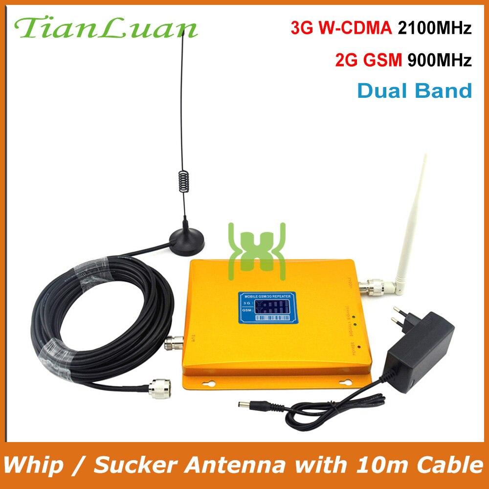 TianLuan pantalla LCD W-CDMA UMTS 2100 MHz GSM 900 MHz móvil de señal de teléfono 2G 3G repetidor de señal con látigo/idiota antena