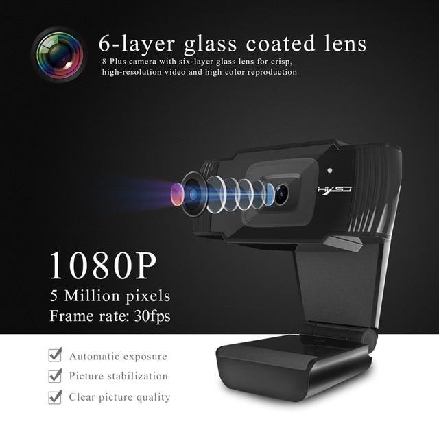 HXSJ S70 веб-камеры HD камера 1080P 1920x1080 черный 5 миллионов Пиксели 2592*1944 Регулируемый вверх и вниз 30 градусов для Windows