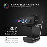 HXSJ S70 Webcams 1080P HD Camera 1920x1080 Black 5 Million Pixels 2592 * 1944 Adjustable Up And Down 30 degrees For Windows