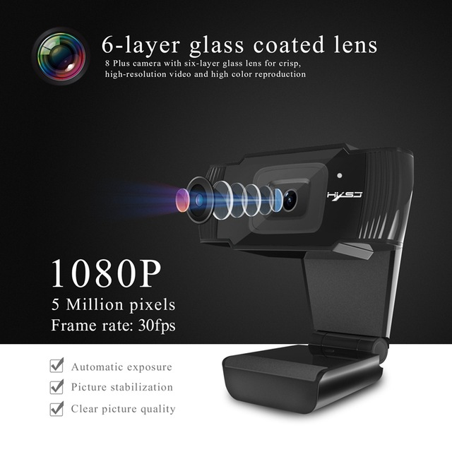 HXSJ S70 Webcams 1080 P caméra HD 1920x1080 noir 5 millions de Pixels 2592*1944 réglable haut et bas 30 degrés pour Windows