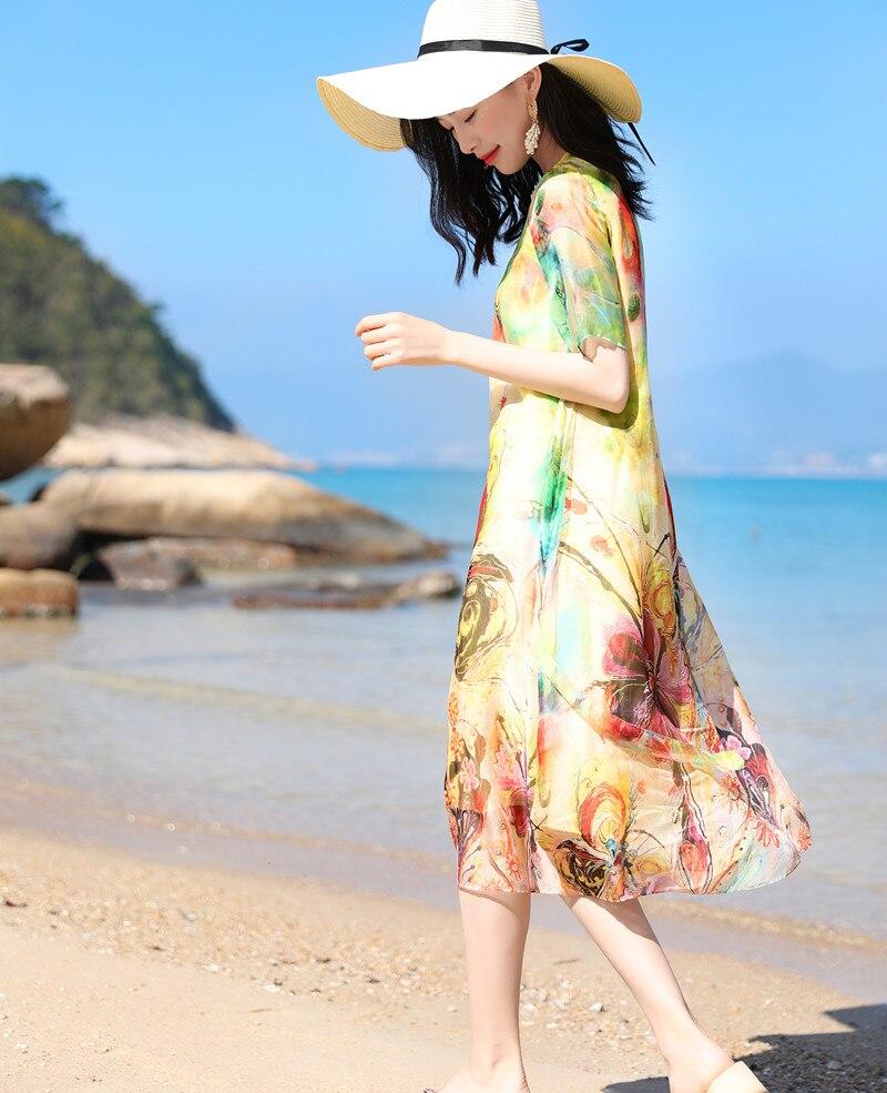 2019 Schinteon véritable vraie robe en soie femmes tournesol imprimer lâche o-cou à manches courtes mi-mollet longues robes de haute qualité