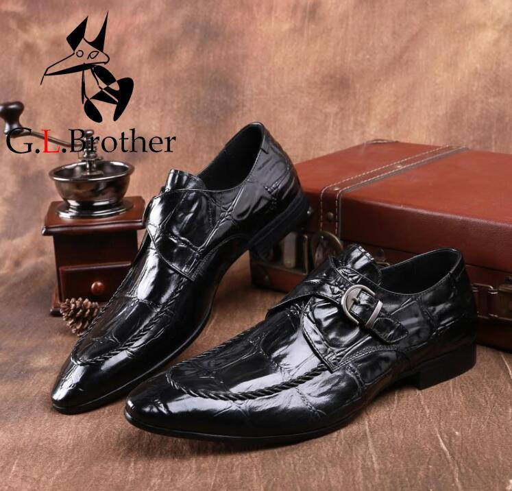 Slip On Dress Shoes Men Genuine Leather Med Heel Smart Casual Height Inceasing Shoes Stone Pattern Buckle Pointed Toes Oxfords цена