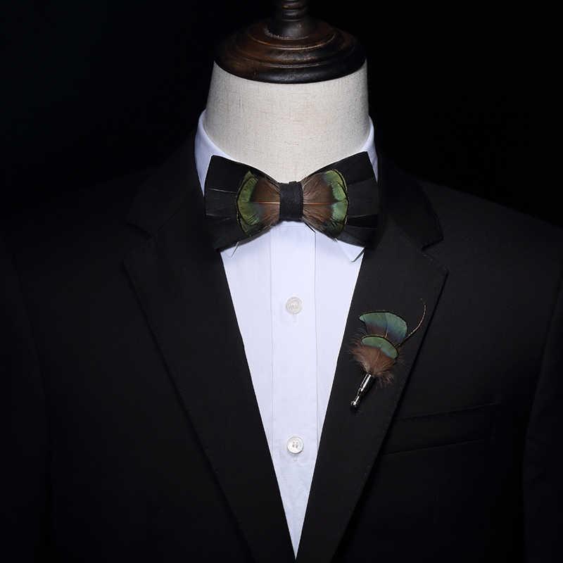 931eddfca4f4 ... JEMYGINS Original Design Black Green Bird Feather Bow Tie Handmade  Bowtie Brooch Gift Wooden Box Combo ...
