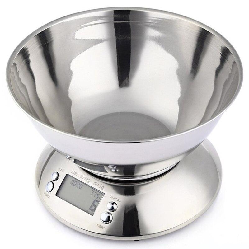 Balance de Cuisine en acier inoxydable 5 kg/1g Balance électronique Cuisine Balance alimentaire Cuisine précision Balance numérique avec bol outil de cuisson