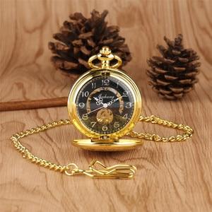Image 5 - Luxury Gold Mechanical Pocket Watch Exquisite Design Hand Wind Pendant Watch Fob Pocket Chain for Men Women reloj de bolsillo