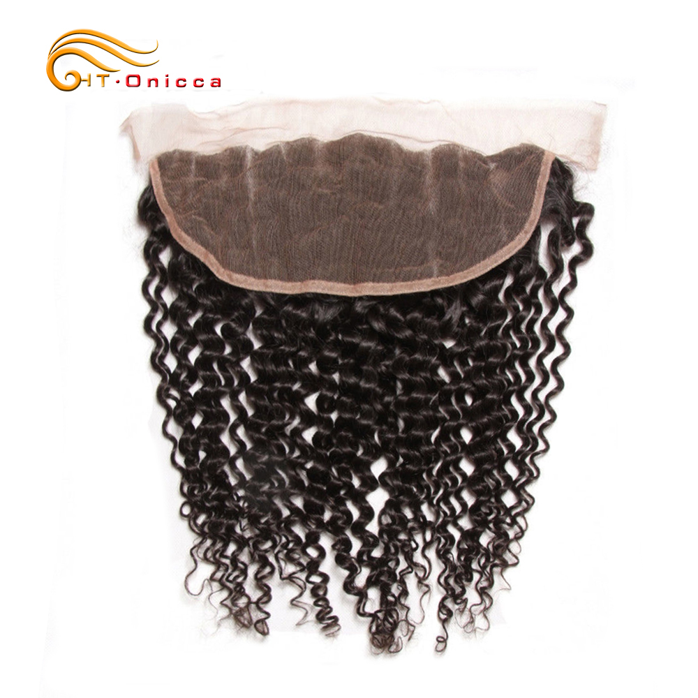 Onicca Peruvian Kinky Curly Frontal Closure Human Non Remy Hair Ear To Ear Lace Frontal Closure 13x4 Free Part With Baby Hair