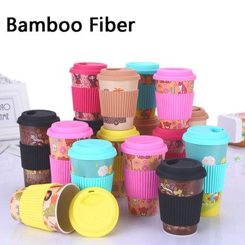 Reusable Bamboo Fiber Mug Travel Coffee Mugs Takeaway Lid Drinkware 10/16oz