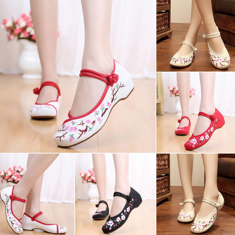 Vintage Women's Chinese Embroidery Strap Canvas Loafers Flat Causal Shoes Plus Sizes 34-41 White,Red,Black,Beige