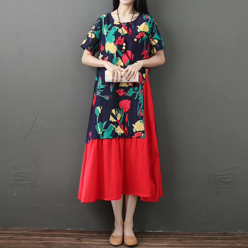 2019 Summer Fashion Dress Women Midi Dress Irregular Splicing Colorful Floral Print Short Sleeve Gown Loose Ethnic Wear Vestidos