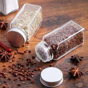 Image 1 - 12 Uds. De tarros de especias, recipientes de vidrio cuadrados, botella de condimento, cocina y acampada al aire libre, envases para condimentos con tapa
