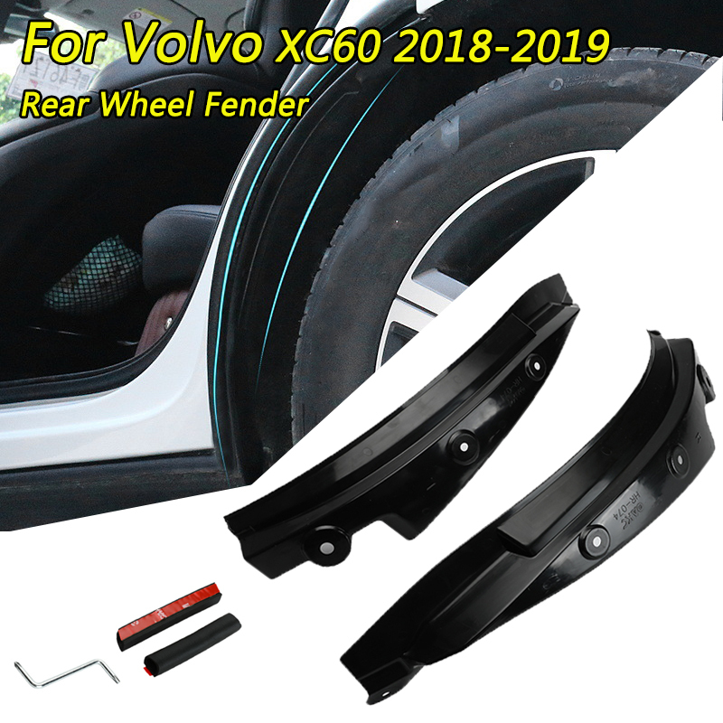 1 Pair PP Rear Wheel Mudguards Fender Flare For Volvo XC60 2018-2019 Mud Splash Guards Car Wheel Arches Protect Black