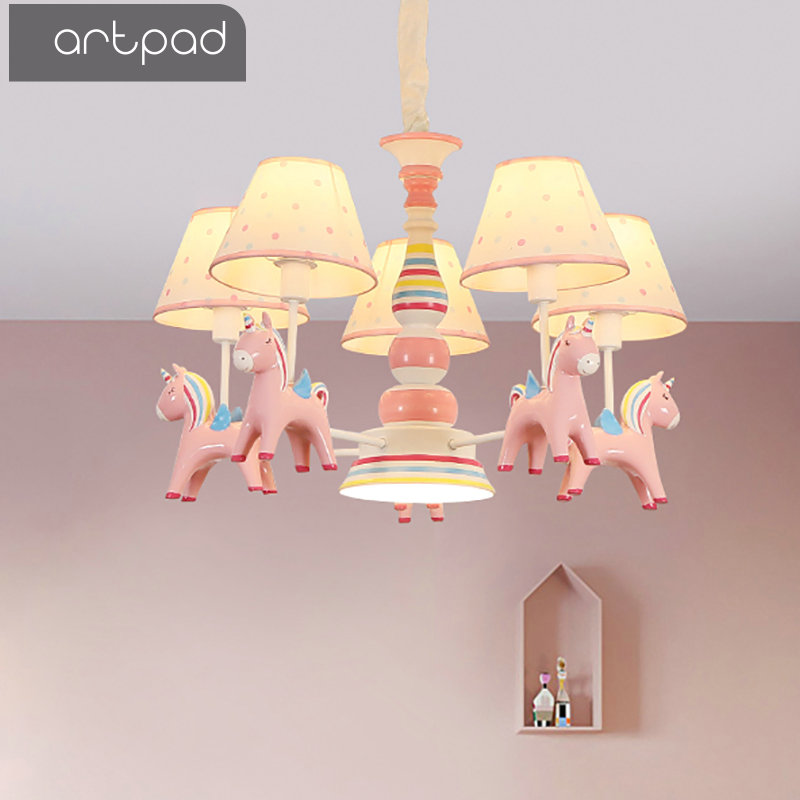 Artpad Cartoon Kawaii Princess Bedroom Hanging Lights Fabric Sconces Resin Horse E27 Adjustable LED Pink Pendant Light Kids Girl