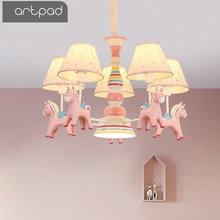 Artpad Cartoon Kawaii Princess Bedroom Hanging Lights Fabric Sconces Resin Horse E27 Adjustable LED Pink Pendant Light Kids Girl