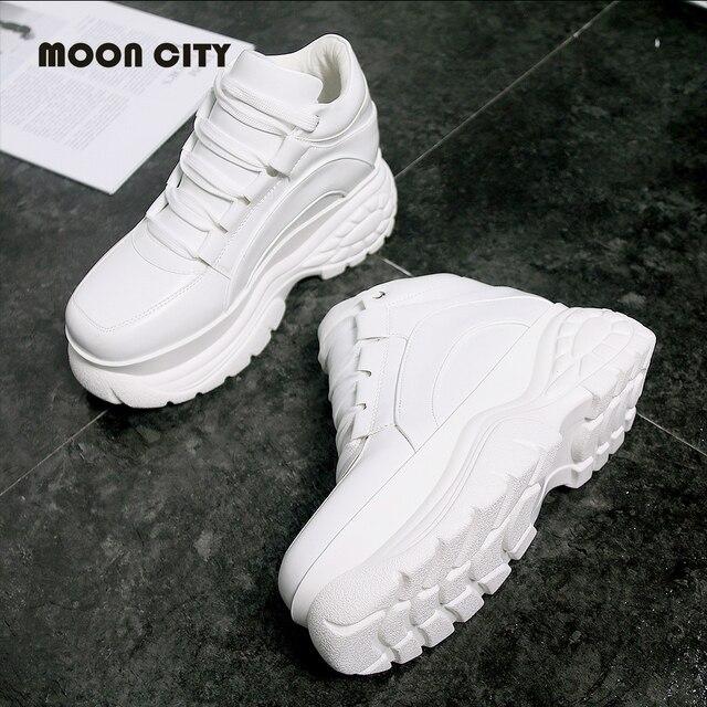 Новинка 2018, белые сникерсы на платформе, зимняя женская модная обувь на толстой подошве, женская повседневная обувь на платформе, Женская Вулканизированная обувь