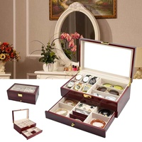 3 In 1 Slot Watch Display Case Wooden Storage Box Winder Jewelry Packaging Display Organizer Watches Glasses Cases Boxes