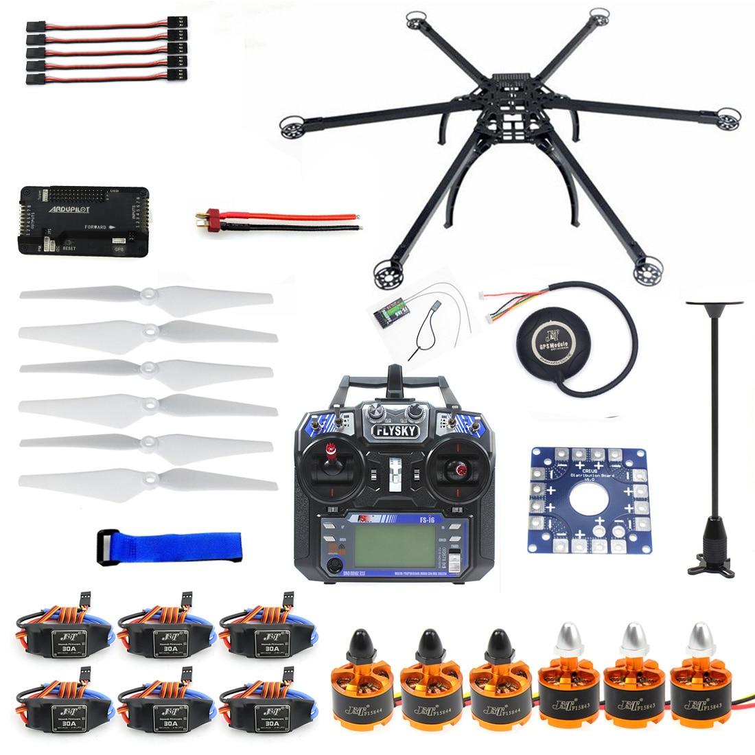 Six-essieu Hexacopter Unassembled GPS Drone Kit avec Flysky FS-i6 6CH 2.4g TX et RX APM 2.8 Multicopter contrôleur de vol F10513-F