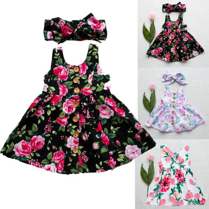 Çiçek Baskı Kız Elbise Kolsuz Düğme Çocuklar Bebek Kız Tül Parti Prenses Elbise Dantel Tutu Doğum Günü Çocuklar Kızlar Için Elbiseler