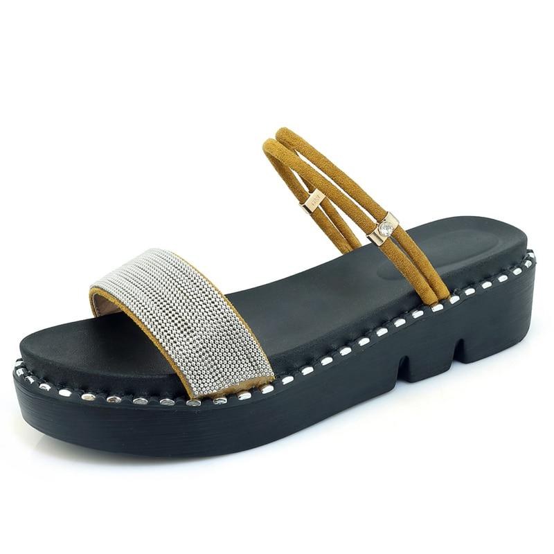 Cm Más Verano Mujer Sandalias Suela Mujeres Plataforma Gruesa Shoebox Tamaño Embalaje Abierta Cuñas Toe Black Zapatos 5 19 Talón yellow 4 30 De pink a7zSqEx
