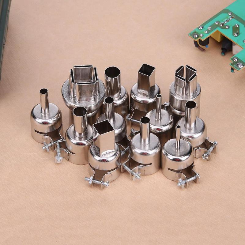 12pcs/set Soldering Station 850 Hot Air Gun Welding Heat Resistant Nozzles Igh Temperature Stainless Steel About 22mm/0.87