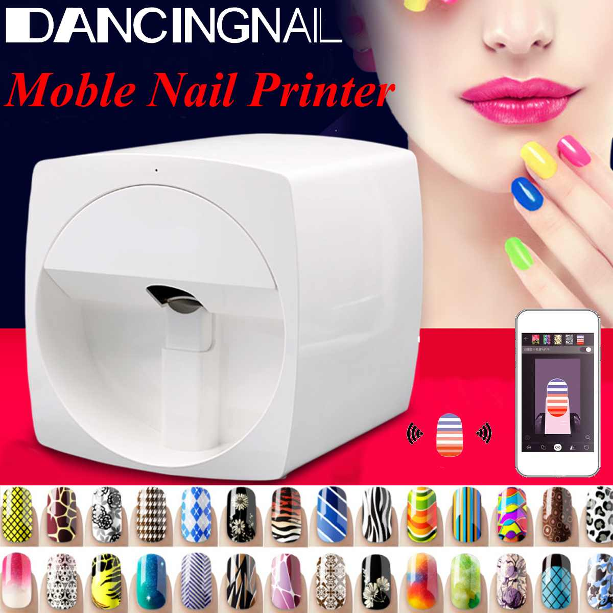 Mobile Nail Printer Machine Manicure Transmission Photo Pattern Color Printing Transfer Picture Design Nail Art Equipment NEW