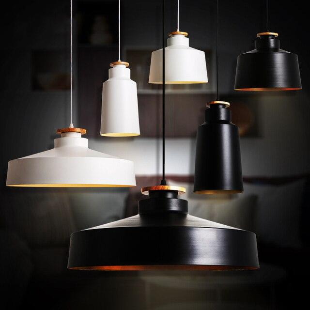 Modern Pendant Lights Wooden Aluminum Pendant Lamps For Restaurant Bar Home Decration lamparas AC110V/220V E27