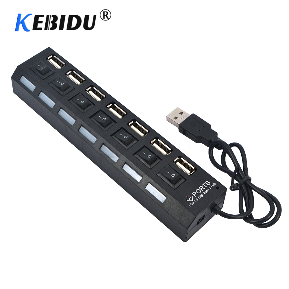 Kebidu 4/7 Port USB HUB Multi USB 2.0 Splitter 480 Mbps High Speed Converter Adapter with on/off Switch For MacBook PC Notebook