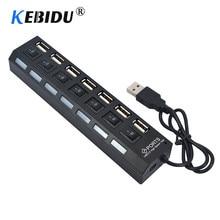 Kebidu – HUB Multi USB 4/7 à 2.0 ports, séparateur 480 Mbps, adaptateur convertisseur haute vitesse avec interrupteur on/off pour MacBook, PC, ordinateur portable