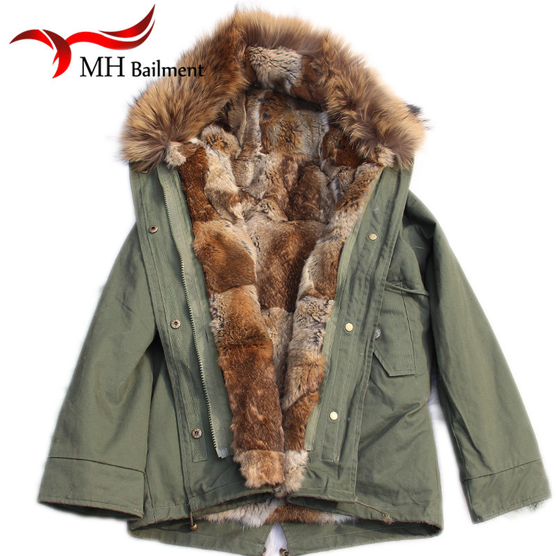 2017 Rabbit Fur Parkas Coat Children Army Green Coat Big Real Raccon Fur Collar Winter Warm Detachable Liner Vest Jacket C#015 цена