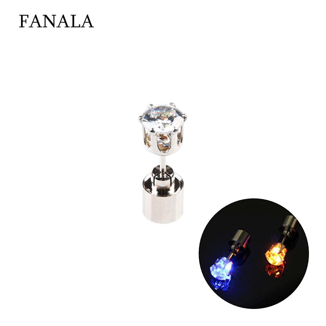 Outdoor Studs Earrings Party Street Party Club Women Jewelry Fashion Rhinestone Light Up Led 8.17g Casual