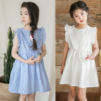 692a0dfde School Ruffles Patchwork Baby Girls Dress Teenagers Party Dresses For Big  Girls Striped Blue Solid White