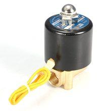 Абсолютно 1/4 дюймов-5~ 85 градусов Цельсия 12 В Электрический электромагнитный клапан Вода Воздух Масло 2W025 08 латунь металл прочный в использовании давление 0-115PSI