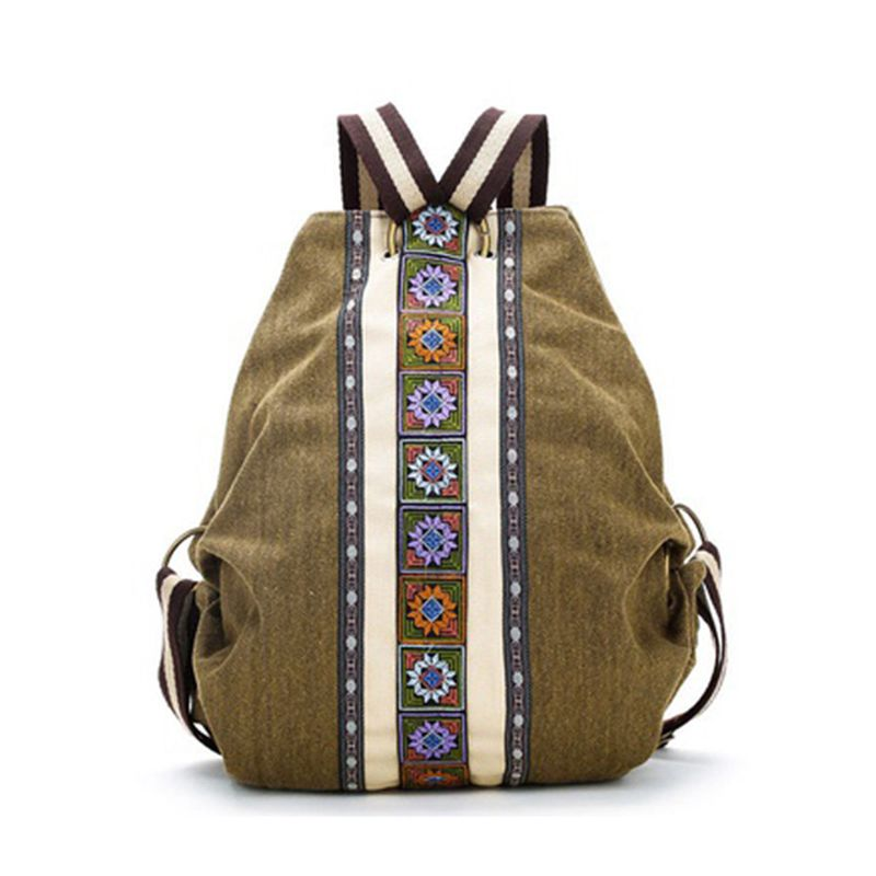 New Fashion Travel Canvas Backpack School Bag Tribal Ethnic Canvas Womens Backpack Pouch Hippie Shoulder Bag Girls Boho Rucksack