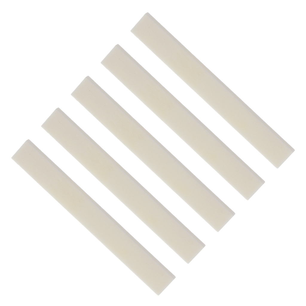 5pcs 80mm Ivory Cattle Bone Guitar Bone Saddle Uncut Blank for Handmade Guitar Replacement Bone in Guitar Parts Accessories from Sports Entertainment