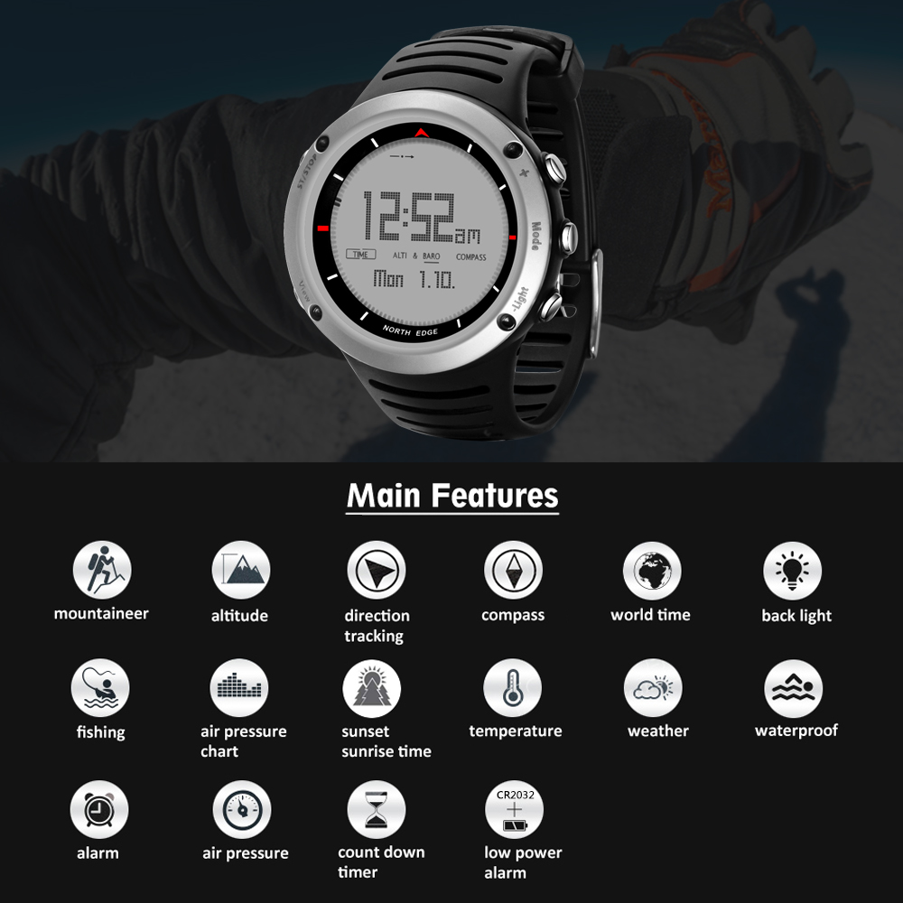 Sports Watch Compass Men's Digital Watch Running Cycling Climbing Barometer Altimeter Air Pressure Compass Thermometer Watch