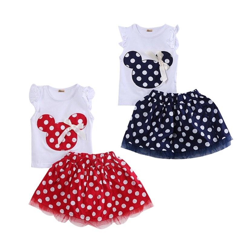 1-4year Nette Sommer Kleinkind Kinder Baby Mädchen Baumwolle Tops Ärmelloses T-shirt Weste Maus + Party Kleid Rock Kleidung Set 2 Pcs Erfrischung