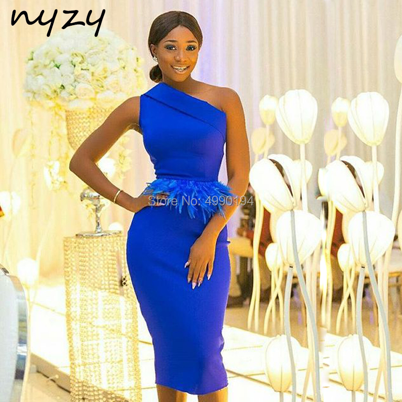 NYZY C79 Feather Cocktail Dresses Royal Blue Satin One Shoulder Formal Dress Wedding Party Dress Guest Wear Vestido Coctel
