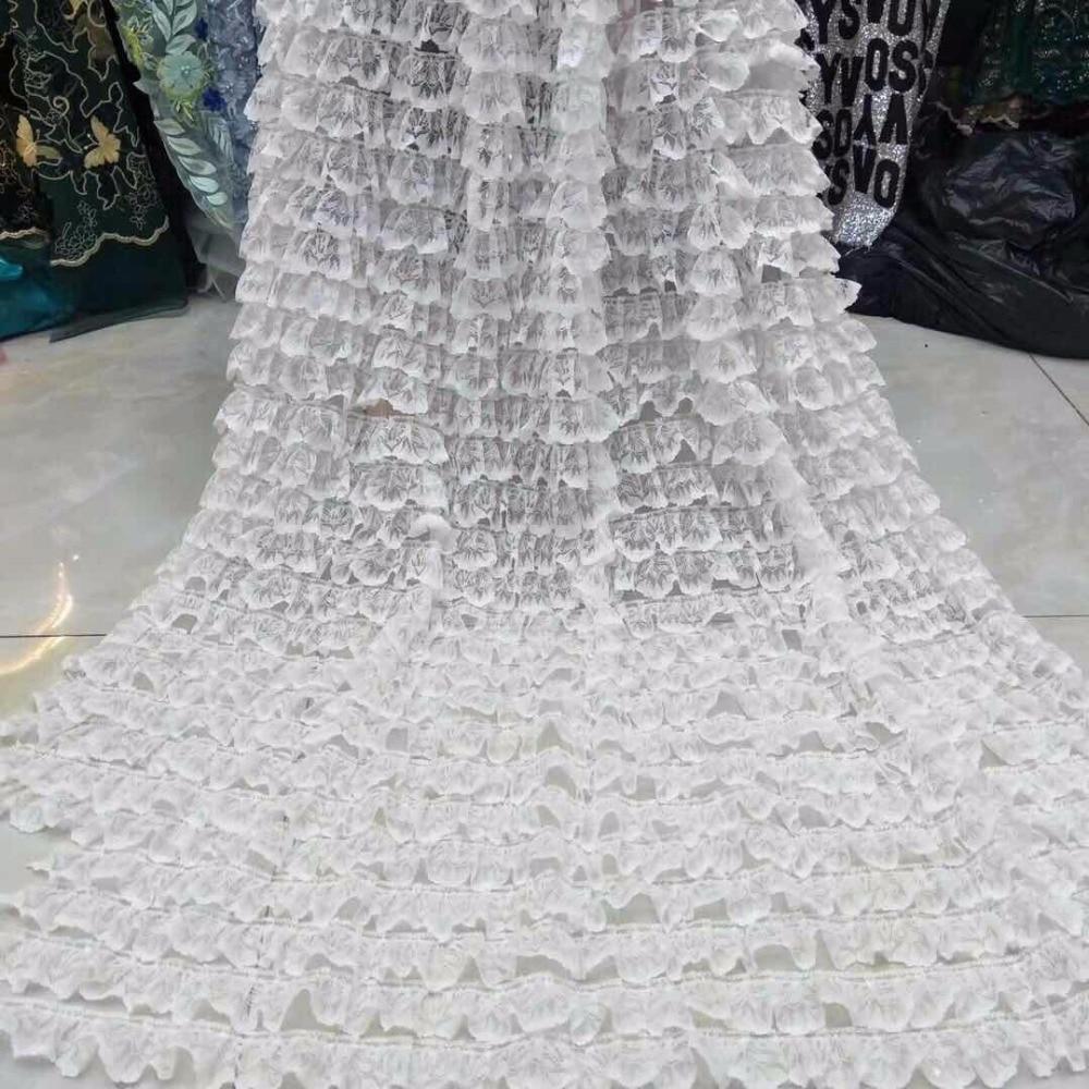 2019 la dernière frange 3d sont une dentelle en mousseline de soie africaine de haute qualité Top qualité nigérian mariage dentelle rose robe livraison gratuite-in Dentelle from Maison & Animalerie    1