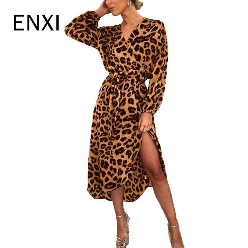 ENXI Maternity Dresses Maternity Clothes Pregnancy Dress Pregnant Dress Sexy Leopard Pattern Pregnants Dress V-Neck Full Sleeve