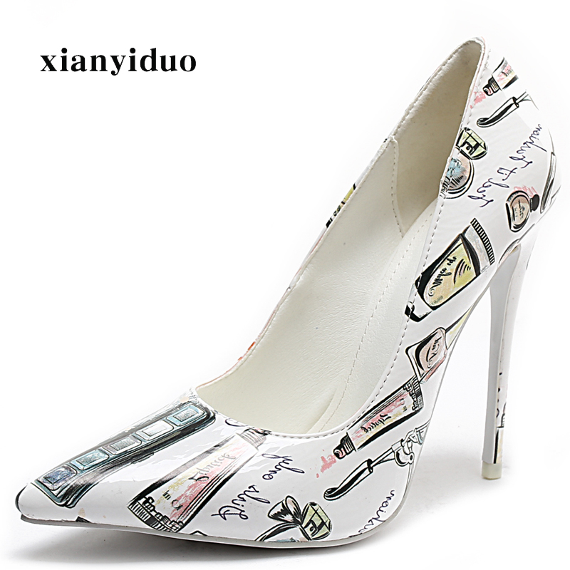 45 Frühling High Größe a439 Plus Party Pumpen Print Leder 2019 Schuhe Sexy Mode Frauen Heels Ultra 34 Dünne Patent Spitz g8qxxUBA