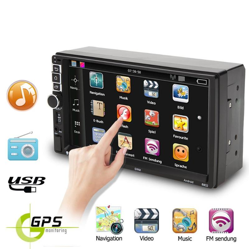 SWM 8802 7 inch <font><b>TFT</b></font> Touch Screen Car MP5 Player 2Din Android 7.1 Quad-core GPS Navigator FM Radio Bluetooth <font><b>3.0</b></font> WiFi with Camera image