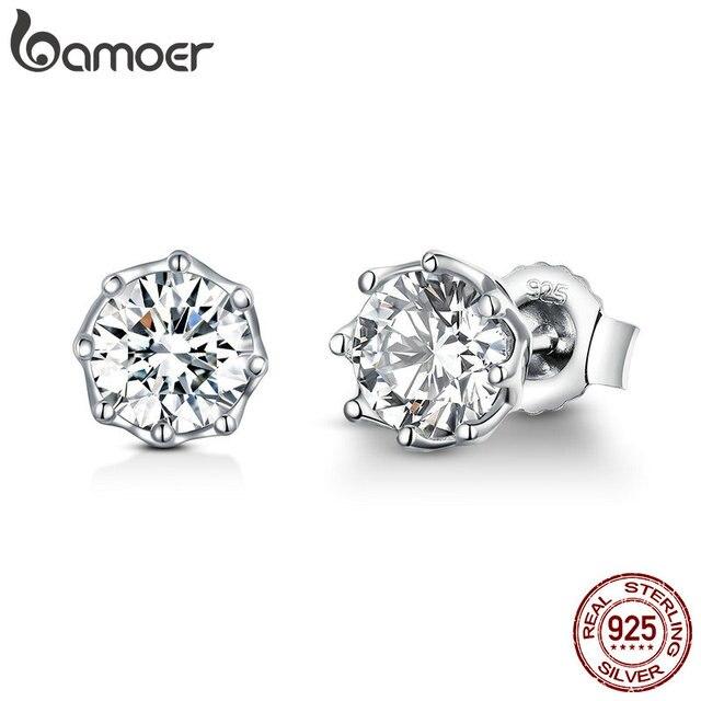 BAMOER Аутентичные 925 пробы серебристый кольцо с фианитом маленькие серьги-гвоздики для Для Женщин стерлингов Серебряные ювелирные изделия SCE499