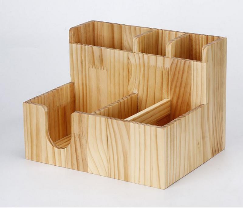 Boîte de stockage de paille de fourchette de tissu en bois chaude de mode avec le support de tasse en papier pour la barre de magasin de thé de lait de café utilisent des outils de stockage à la maison