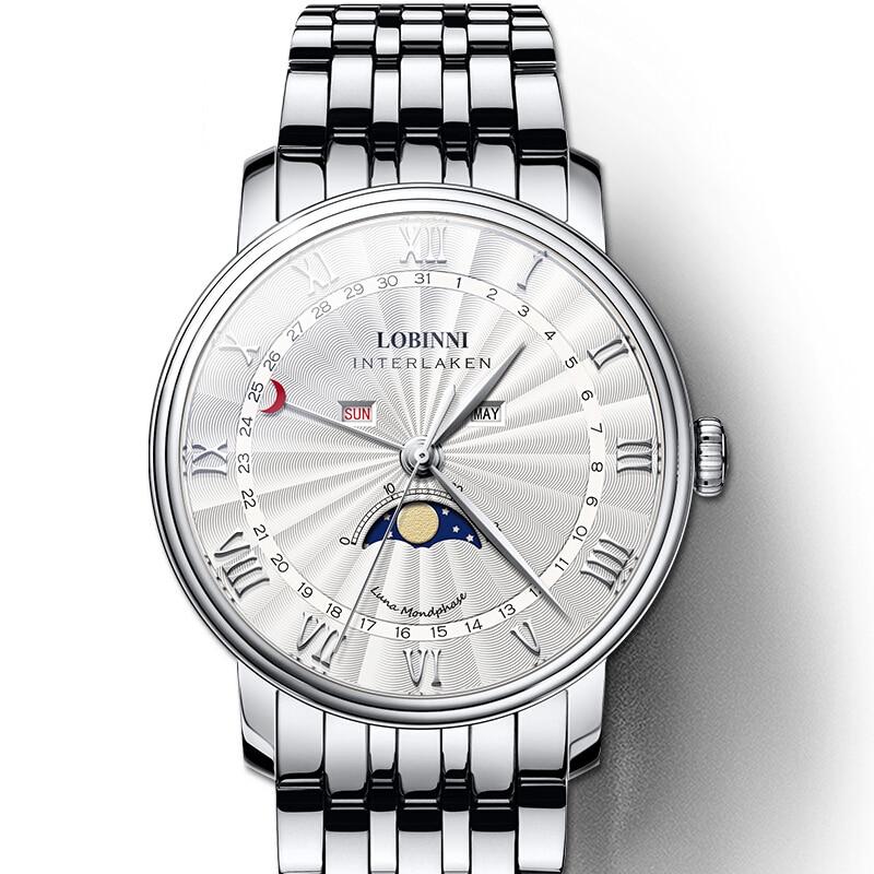 LOBINNI Relógio de Fase Da Lua Dos Homens Homens Relógios de Luxo Da Marca Suíça de Safira À Prova D' Água reloj hombre Japão Miyota Movimento L3603-4