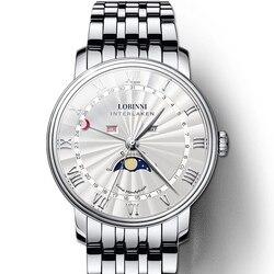 LOBINNI zegarek mężczyźni luksusowej marki szwajcaria mężczyźni zegarki Sapphire wodoodporna faza księżyca reloj hombre japonia ruch miyota L3603 4 w Zegarki kwarcowe od Zegarki na
