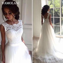 VAMOLASC Embroidery O Neck Lace Appliques A Line Wedding Dresses Tulle Sweep Train Sash Backless Bridal Gowns
