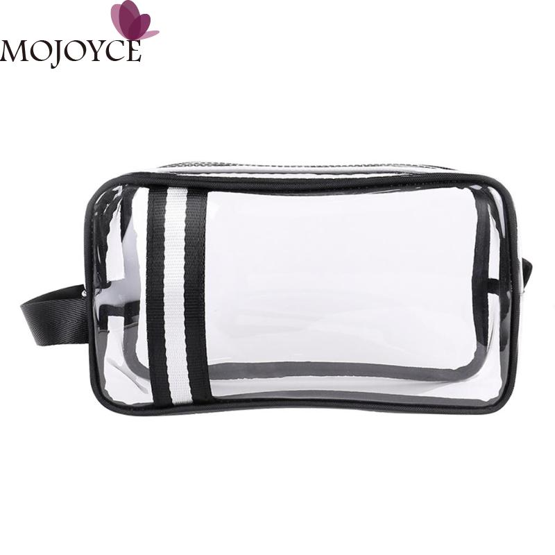 Hit Color Stripe PVC Makeup Bags For Women Waterproof Travel Cosmetics Storage Wristlet Pouch Wash Toiletry Bag Bolsas Feminina