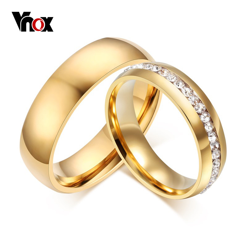 Vnox Personalized Gold-color Wedding Bands Ring for Women Men Jewelry 6mm Stainless Steel Engagement Ring Anniversary Gift(China)